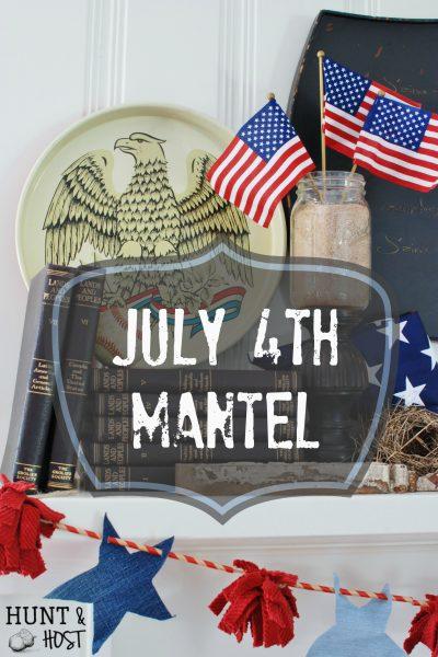 July 4th mantel diy all the elements of summer! Baseball, road trips, the beach, American flag, Eagle, denim, fun straws and a bird's nest!