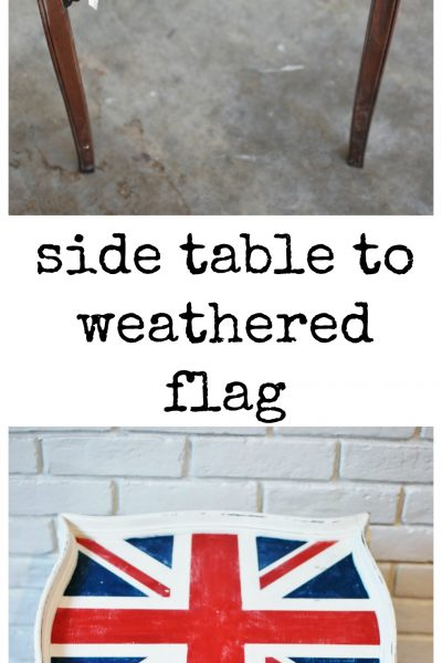 weathered union jack flag side table chalkpaint huntandhost.net