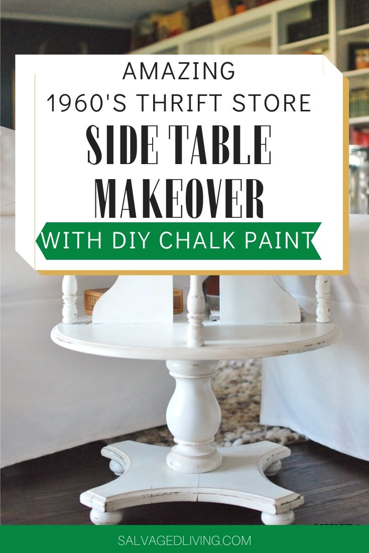 side table makeover with diy chalk paint: a 1960's side table gets a WHITE DIY chalkpaint recipe makeover for this #furnituremakeover #chalkpaint #paintedfurniture