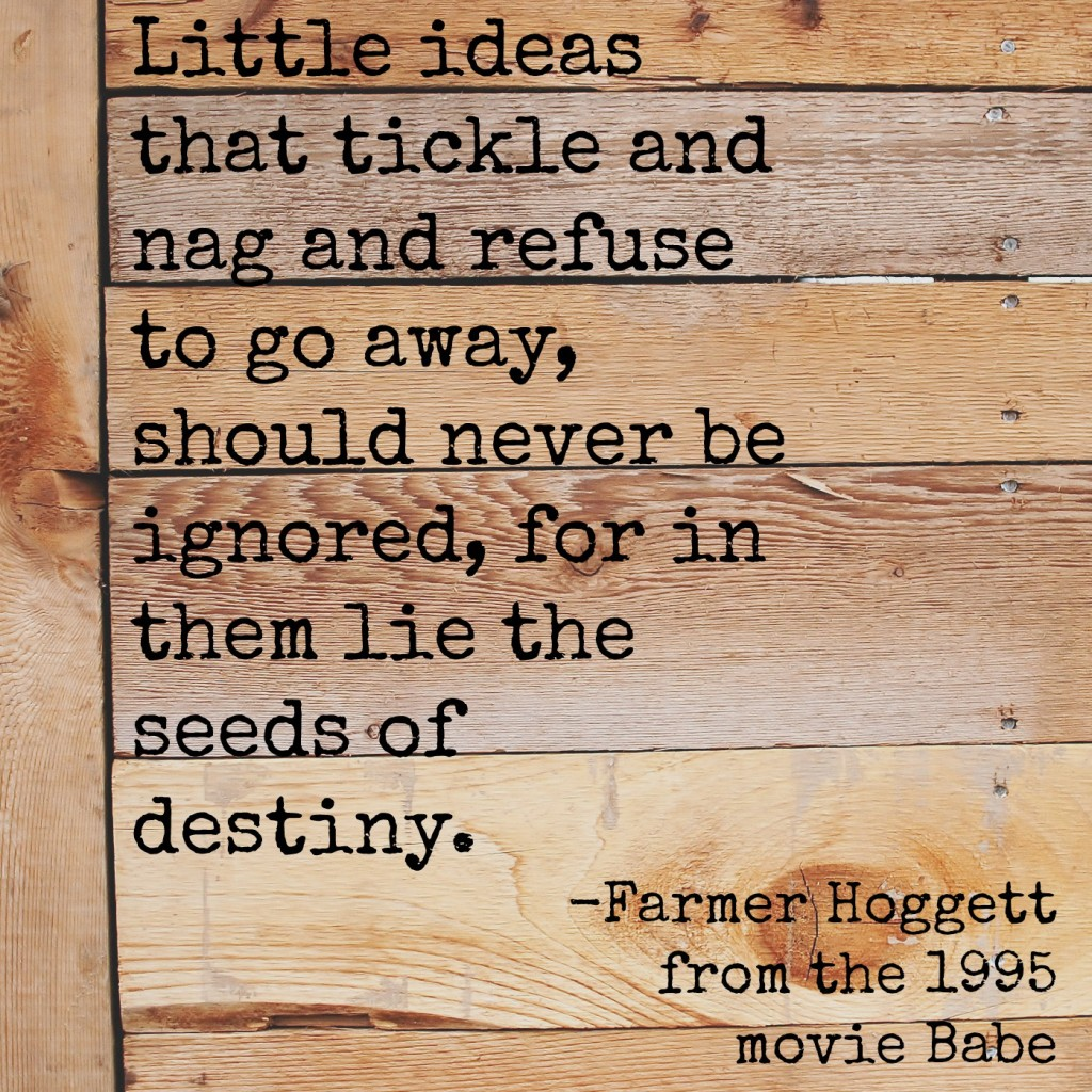Little ideas that tickle and nag and refuse to go away, should never be ignored, for in them lie the seeds of destiny. Farmer Hoggett from the movie Babe.