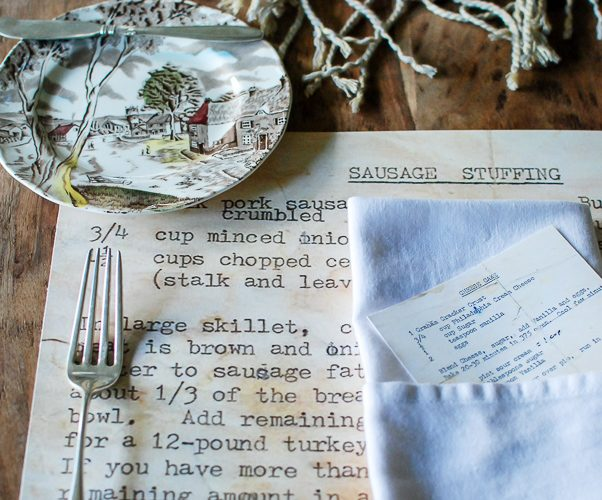 Family Heirloom Recipe Placemates: Thanksgiving Table Setting
