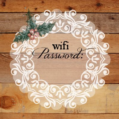 Free Holiday WIFI Password Printable