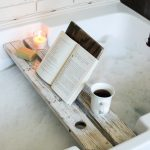 DIY tutorial for a bath tray with a book rest! This bath caddy will make your relaxing hot tub time even more luxurious!