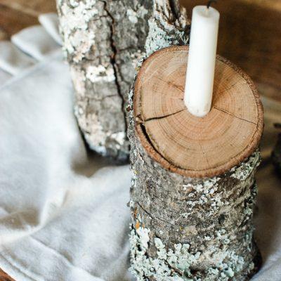 Rustic Winter Tablescape: Log Candlesticks