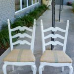 These chairs matched at one time, but one got cut down. This makeover gets them back to matching and adds height with finials. Coffee bean sack fabric is perfect for the new seat cushion.