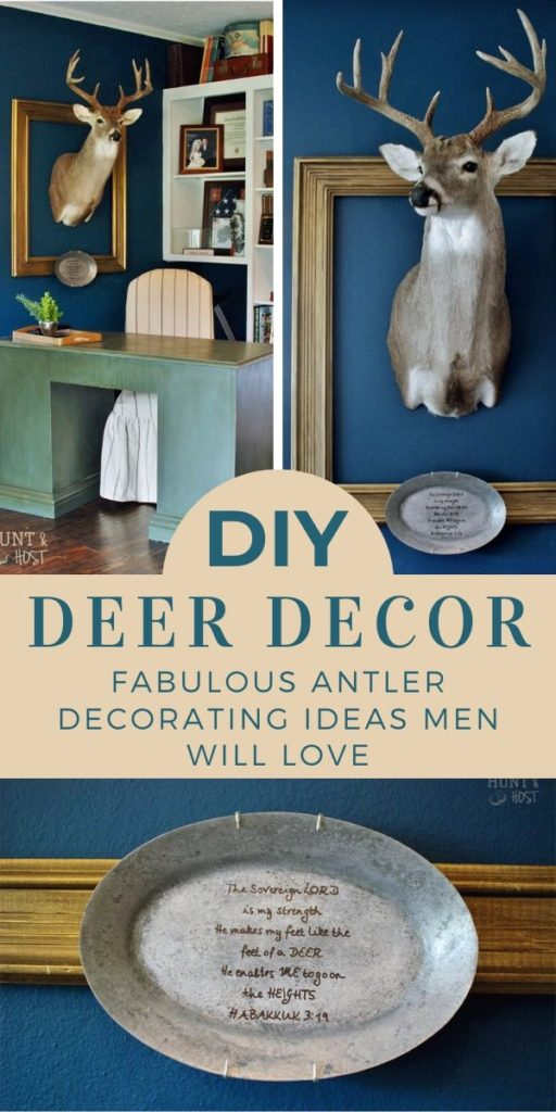 What to do with a deer head or other hunting mounts that your husband wants to hang in your home. Compromise with this simple solution to hanging game in your home. #deerdecor #hunting