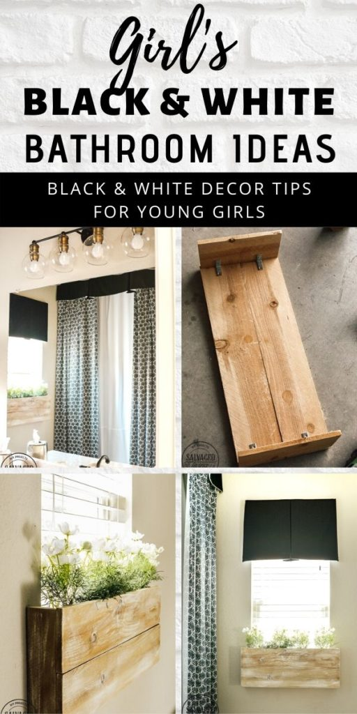 cute ideas for a girl's bathroom in black and white. Try an indoor window box, floor to ceiling shower curtain and black and white theme for a teen girl's bathroom makeover! #bathroommakeover #blackandwhitedecor #teendecoratingidea