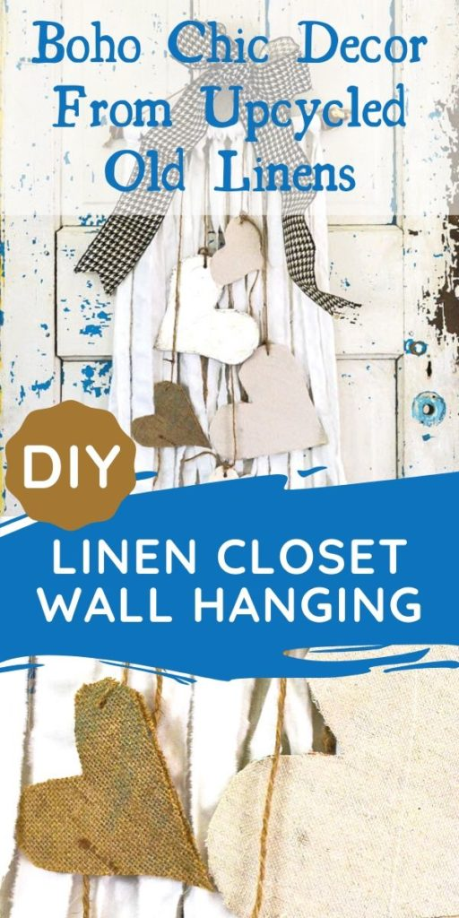 Create boho chic wall hanging decor from your old linens. Purging the linen closet will provide tons of great crafting material. This DIY wall hanging is dressed up for Valentine's Day, but would be great for a farmhouse feel any time of year. WIth great texture from burlap, drop cloth and tin foil this tone on tone neutral decor is a versatile addition to any style, Simple natural touches round out this Valentine home tour. #raggarland #wallhanging #dropclothproject