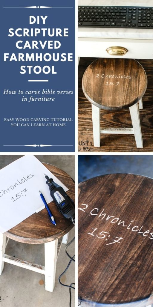 how to carve a Bible verse into furniture. If you want to learn a special furniture makeover technique that will add interest to your furniture makeovers try wood carving. It is a great way to make unique furniture for your home. I have a complete tutorial on how to use a Dremel to carve wirds into wood! #woodcarving #furnituremakeoveridea #christiandecor