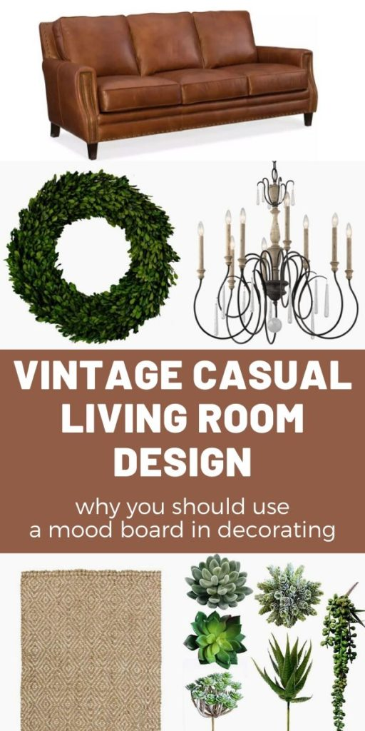 How to use a mood board to design a room like a professional. See how this vintage casual living room comes together with just a little planning that you can DIY. #interiordesigntip #moodboard #designlikeapro #livingroomideas