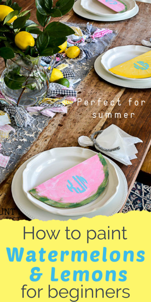Learn how to paint watermelon and lemons for a fun summer tablescape. Even if you are a beginner painter you can make these cute watermelon and lemon signs for your summer tablescape or wreath attachment. #paintingtips #watermelondecor #lemondecor #summerdecor