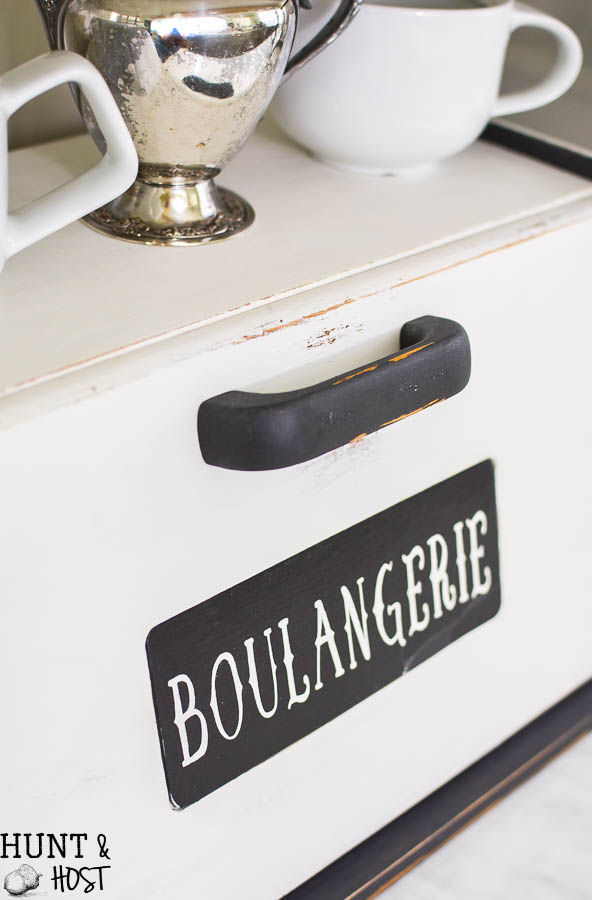 This bread box makeover is perfect for hiding kitchen clutter, kitchen storage ideas, a great coffee bar or the perfect family charging station. 80's bread box to French Country Décor!