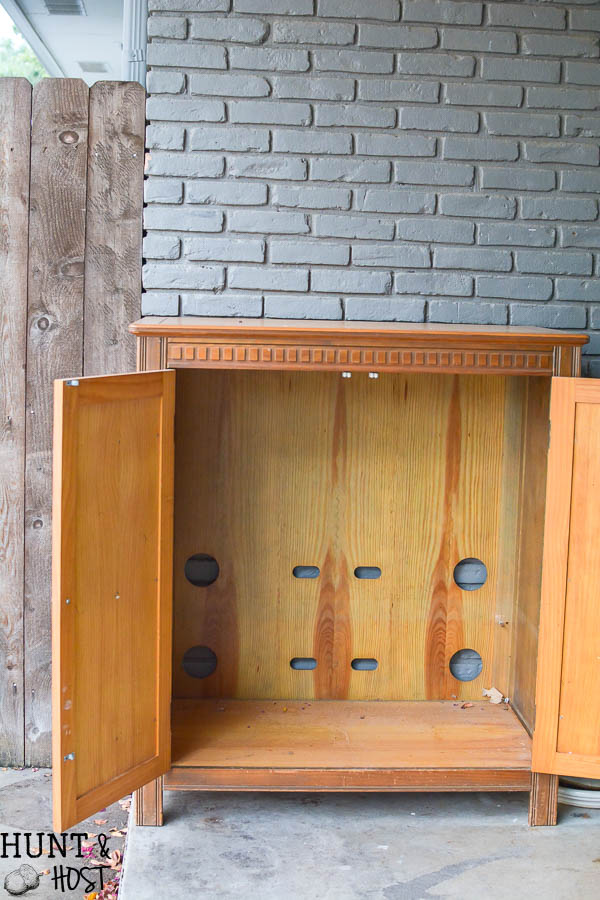 I can't believe this old entertainment center was on the curb. Now it is a fabulous antiqued mirror French chest.