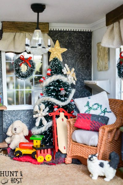 Christmas dollhouse decorating ideas, festive food, holiday pillows, handmade ornaments and a gorgeous nativity round out this Christmas home tour.