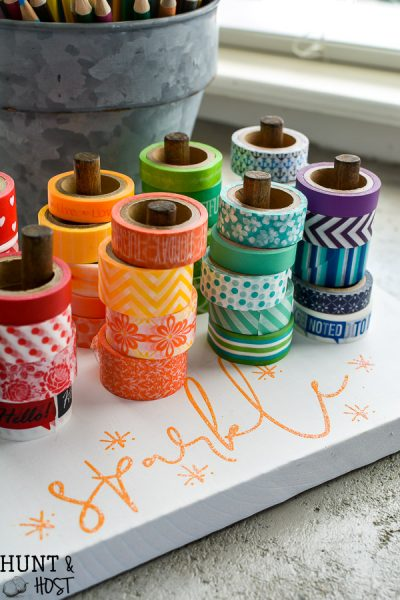 Need an easy Washi tape storage idea? Look no further! This DIY Washi tape organization station will have you whipping out Washi tape crafts like a champ.