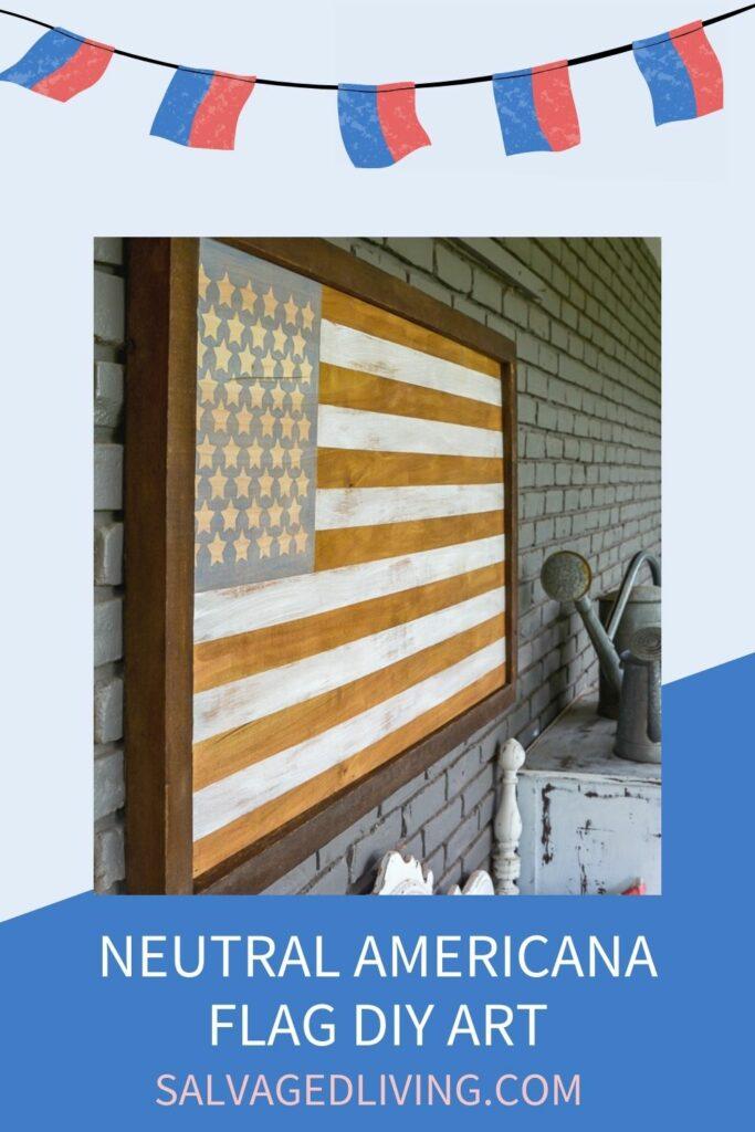 diy neutral wood american flag on porch