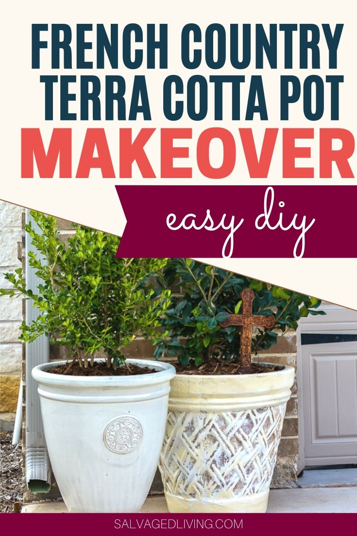 terra cotta pot makeover Update your outdated terra cotta pot into a French country classic. Streamline your potted patio plants or bring an outdoor potted plant inside with this easy DIY makeover to get your old pots to match your current décor. It's so much easier to update what you have rather than buy new pots! Please a great tip on how to keep clean up quick and easy!