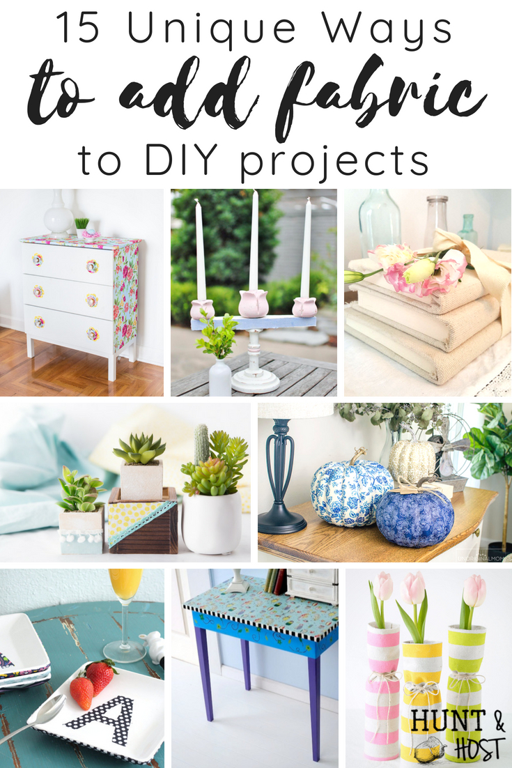15 unique ways to add fabric to DIY projects - perfect use for scrap fabric and small remnants you have floating around your craft room. Fabric instead of paint makes a fabulous texture and interesting pattern choice for all kinds of home decorating DIY! #scrapfabricproject #nosewproject #modpodge #fabrictransformation #diyhomedecor