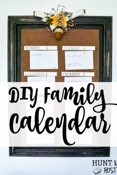 Make a DIY family calendar to keep your family schedule organized. A cute display for your kitchen or household command center to keep all your activities in one spot. #organizedfamily #familycalendar #scheduleidea #familyorder