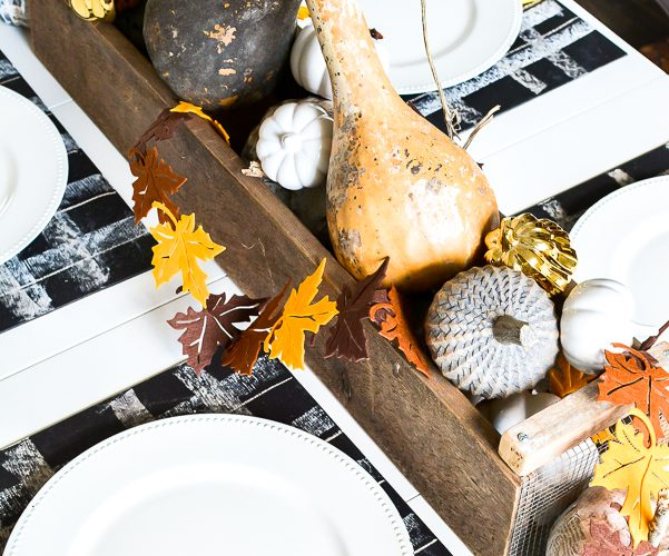 Simple Fall Table Setting With Buffalo Check Chalkboards