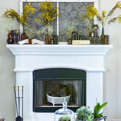 Amber Glass Jar Mantel Decor