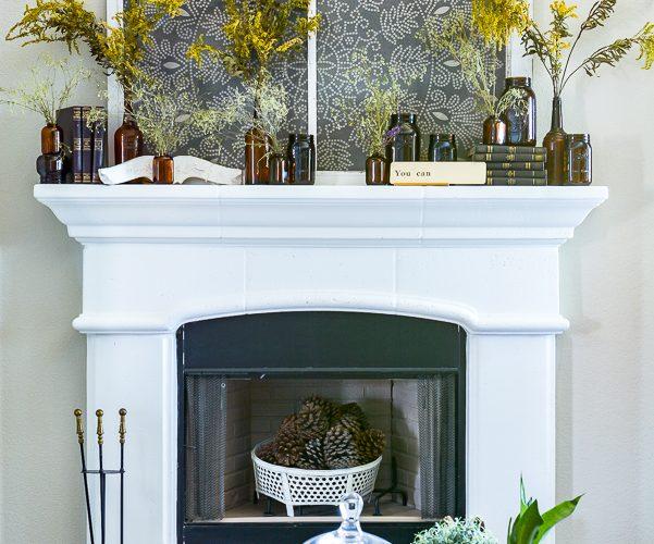 Amber Glass Jar Mantel Decor
