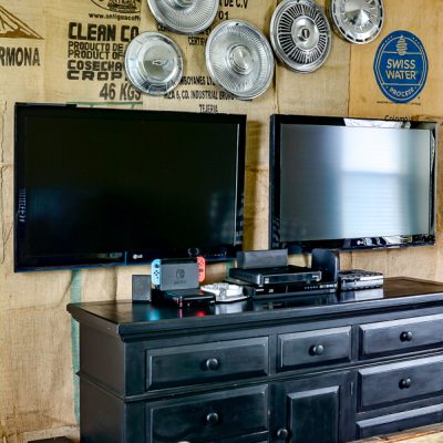 Rustic Game Room Idea with Burlap Wall Covering
