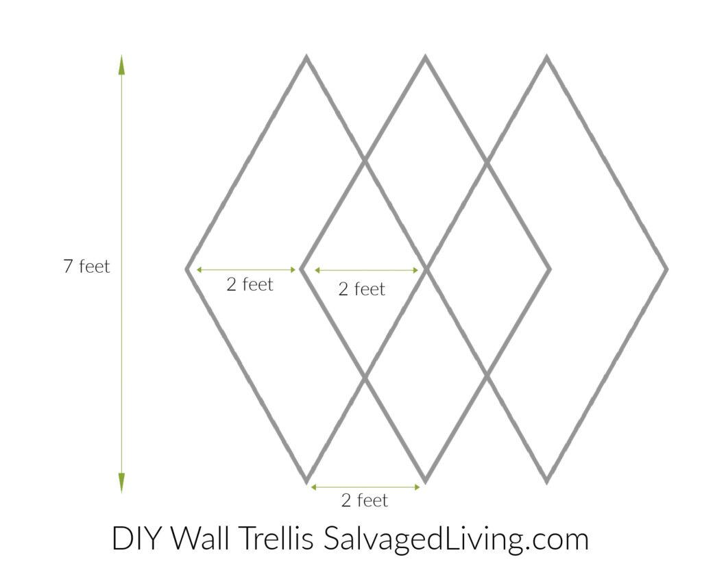Dimensions for DIY Wall Trellis design on brick wall.