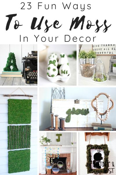 a collection of fun ways to use moss in our decor, these DIY moss craft ideas will give you a fresh start to decorating with new wall art, moss signs, moss pictures and many other easy moss tutorials. #mossdecor #mosstips #mosscraft #springdecor #dollarstorecraft #easyDIY #greenthumb