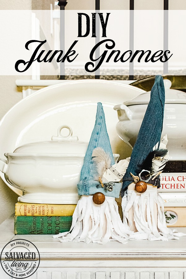 I'll show you how to make adorable DIY junk gnomes out of scrap wood, random hardware, trinkets and scrap fabric you have laying around. Have fun hiding these happy little gnomes around your home, tucked into bookshelves and cute vignettes. You could make holiday gnomes the same way too! #gnomes #junkproject #scrapwoodproject #scrapfabricidea #DIYGnomes