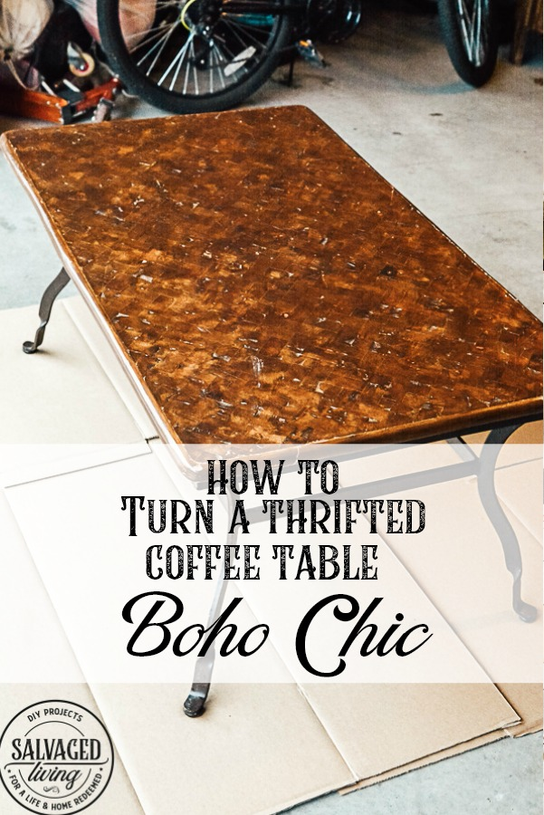 Turn a thrifted coffee table into a boho chic piece of furniture with rich moody colors perfect for any global styled vintage living room you love. This DIY furniture idea on how to use Unicorn Spit and Famowood Glaze Coat Epoxy will have you finishing furniture like a professional in no time! #bohostyle #epoxy #UnicornSpit #GlazeCoat #thriftedfurniture #furnituremakeover #furnitureidea #vintagestyle
