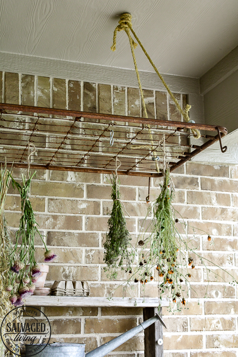 The perfect plant drying rack for your patio. If you want a French country feel on your porch then a vintage baby mattress spring is the best idea! Maybe you can even use it for a herb drying rack if you are a foodie! #herbdryingrack #diydryingrack #wildflowers #herbdrying #cozyporch #porchquilt