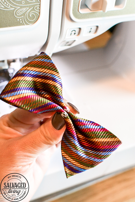 This dog bow tie DIY tutorial is special because we use vintage neckties for pet bow ties! Add some vintage style to your pooch's wardrobe with this easy bowtie tutorial! #dapperdog #dogbowtie #catbowtie #animalclothes #petaccessories #dogcollardiy #diypetaccessory #necktieproject #scrapfabricproject #vintagenecktieidea