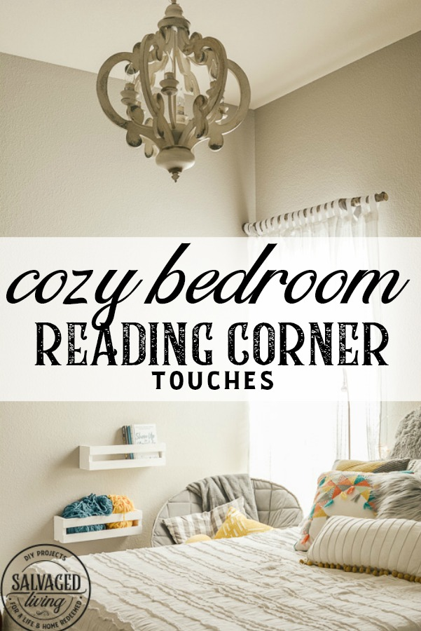 Design a cozy reading corner in your bedroom for a soft and dreamy retreat perfect for getting lost in a good book! Simple touches set the mood for this reading nook! #bookworm #readingnook #readingcorner #bedroomretreat #booknook #cozyreadingcornerforteens #DIYcurtains #bookshelf #cratefurniture