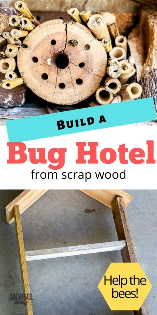 a great outdoor craft project to help the bees. Attract solitary bees with a bug hotel you can build from scrap wood. Great spring and summer project to do with kids. This bug house adds charm to your outdoor decor and is great for the environment! #outdoorcraft #gardencraft #scrapwoodproject #bughotel