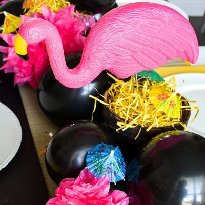 Dollar Store Table Decor for Summer with Flamingos