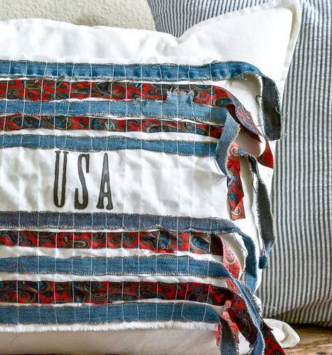This decorative DIY patriotic pillow cover is perfect for your summer decor, plus it's perfect for a quick seasonal pillow change on a budget. #easyDIYpillows #decorativepillows #fourthofjulypillow #4thofjulydecorations #scrapfabricproject #patrioticdecor