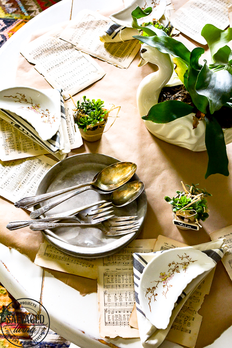 Mix vintage and dollar store finds for the perfect garden tablescape, feel like you are dining at a gorgeous garden party every night and it's inexpensive! #dollarstorediy #dollarstoretable #99centstoreDIY #99centstore #99centstoredecor #vintagegarden #vintagetablesetting #swandecor