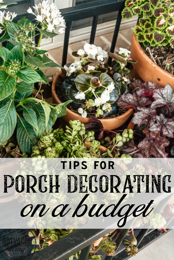 Here are some easy tips for porch decorating on a budget. You will gets great ideas for your patio decor. Learn how to paint furniture with a sprayer with these helpful DIY furniture painting tips. A great way to update your patio furniture with paint. #paintsprayerDIY #DIYfurniturepaint #patiomakeover #porchedecorideas #thriftstoremakeover #howtotips