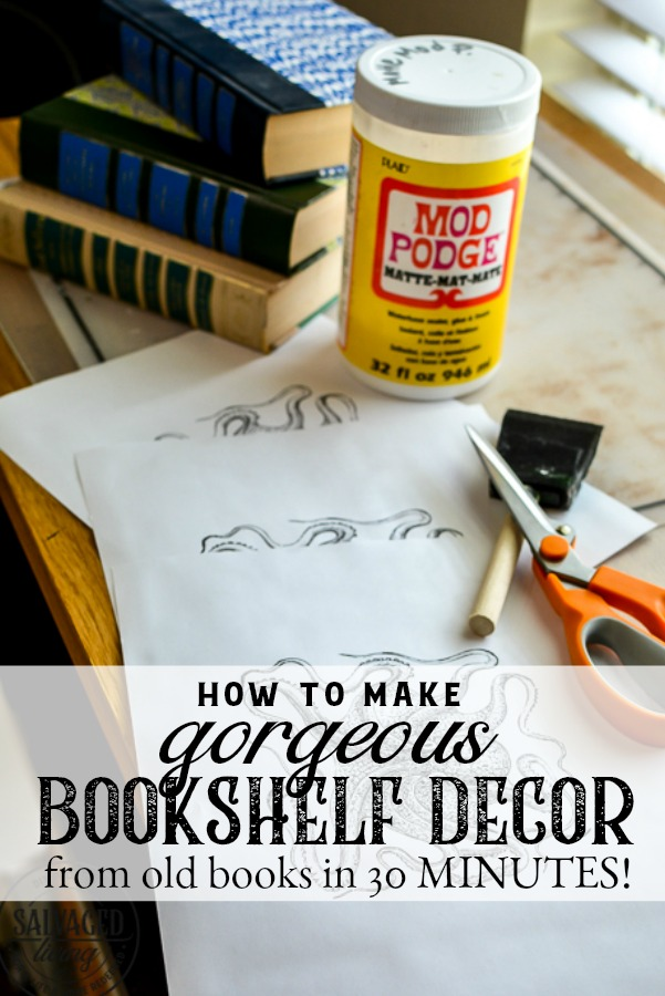 How to make gorgeous bookshelf decor in 30 minutes from old books. This book spine art project will have you making beautiful DIY home decor quick and easy. Book spine art is so easy and versatile. #bookupcycle #decorativebooks #bookshelfdecorating #DIYdecortutorial #vintageart #readersdigest #upcycle #repurpose