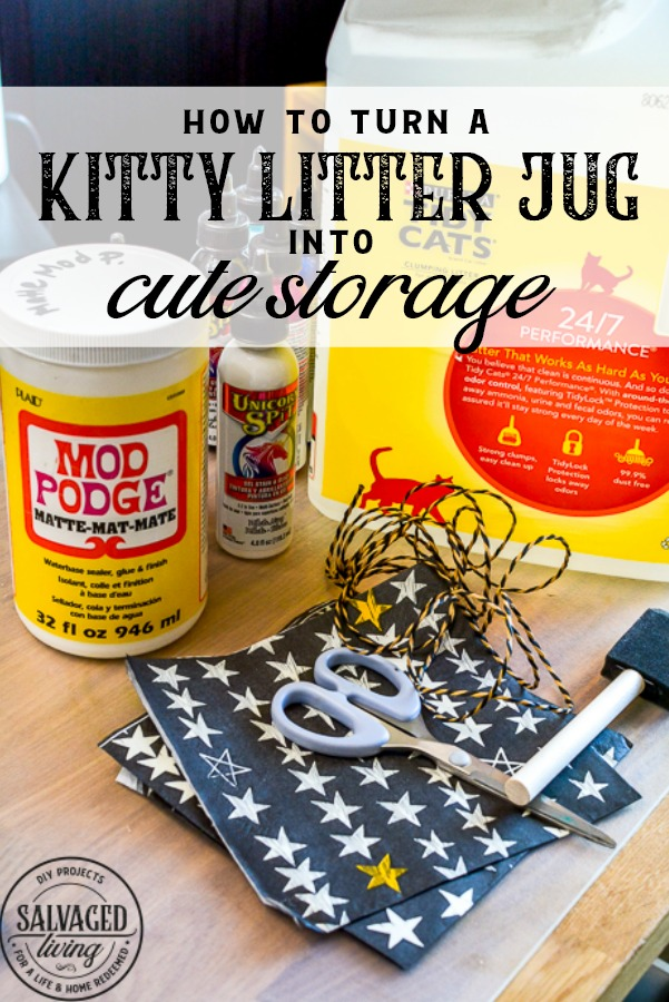 Have a plastic jug you want to recycle for storage? This easy kitty litter jug upcycle makes for cute storage in minutes. A great craft idea for kids , your craft room or pantry! #plasticjug #upcycle #organizationidea #easystorage #cutestorage #napkindecoupage #modpodge