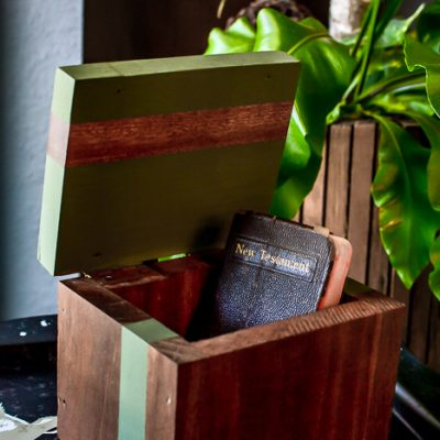 Modern Vintage Wood Box Makeover Idea