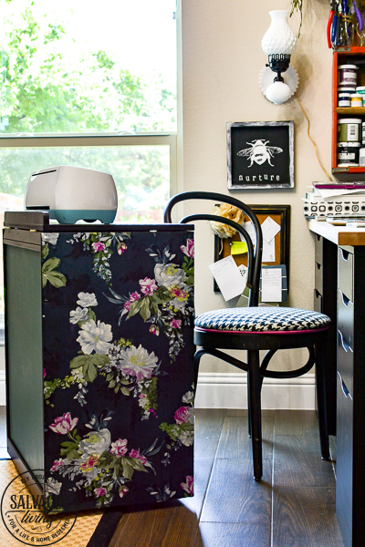 How to dress up your painted furniture with florals. Floral furniture is a beautiful trend right now and this DIY floral application is quick and easy. I'll walk you through how to update your own vintage furniture with a fun floral accent. This craft cart is sure to give you inspiration. #diypaintedfurniture #floralfurniture #beforeandafter #updatefurnitureideas #paintsprayer #paintsprayerprojects