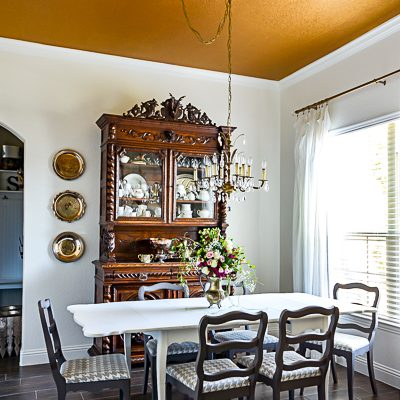 Gold Painted Ceiling for a Vintage Dining Room