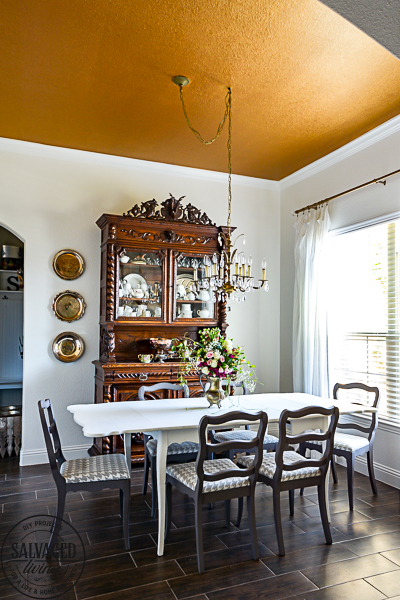 Gold Painted Ceiling for a Vintage Dining Room - Salvaged Living