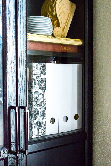 This IKEA hack will show you how to update an IKEA magazine holder into gorgeous storage for your home or office on a tight budget. Pretty organization quick and easy! #ikeahack #kiea #organzation #budgetdecor #budgetorganization #officedecor #homestorage #decoupageideas