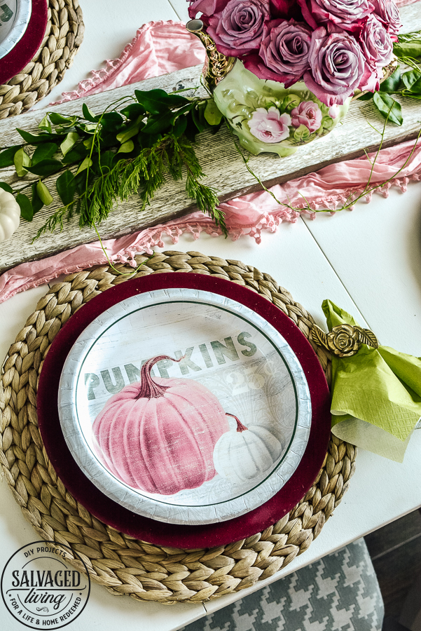 Get some great fall decorating tips on a budget with this elegant tablescape idea for fall. Plus see a ton of fall decorating ideas in the fall round up - you can get fall mantel ideas, beautiful fall wreath inspiration, fall sign ideas and more! #fallideas #budgetdecoratingforfall #budgetdecor #dollarstoretable #fall #dollartreedecor #pinkfall #gargesalefall #fallwreath #fallmantel #DIYfallsign
