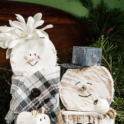 DIY Scrap Wood Snowman Family