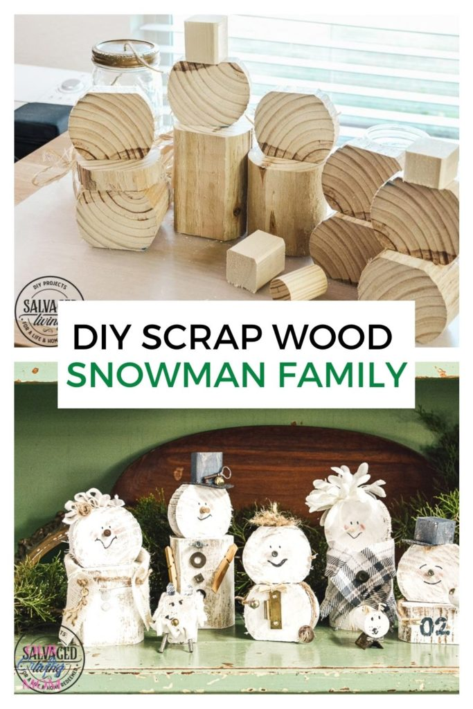 diy scrap wood snowman family