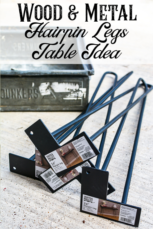 DIY hairpin legs table made from thrifted metal and wood. If you are a junk lover this is a great idea to turm your junk finds into DIY furniture. Adding hairpin legs to your vintage finds is an easy DIY furniture projrct you can complete in an afternoon. Source guide included! #handmadefurniture #thriftedfurniture #sidetable #DIYtableidea